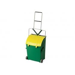 Apanhador com cesto de lixo, pega e rodas