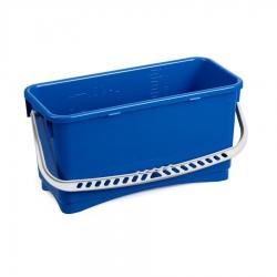 Balde de plástico azul com grelha